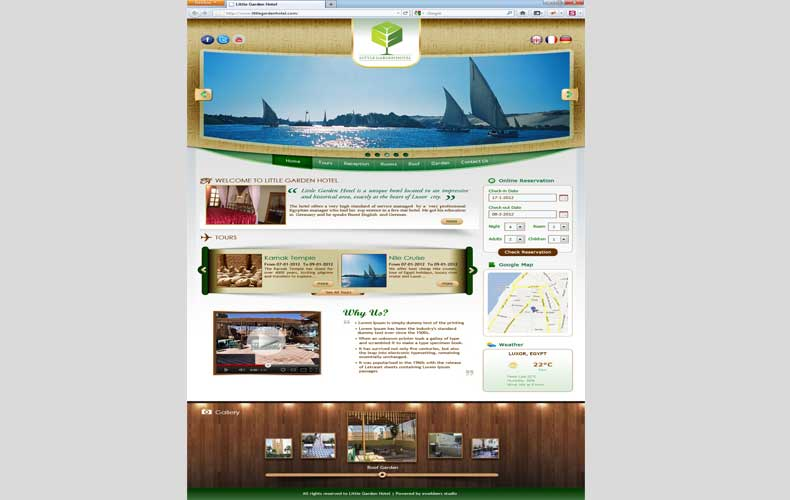 Little Garden Hotel in Luxor Website Design and Development