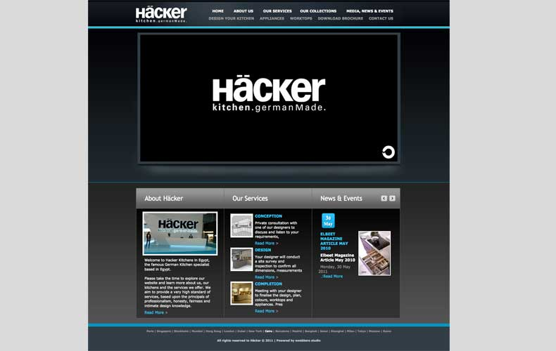 Hacker Kitchens in Egypt Website design and development