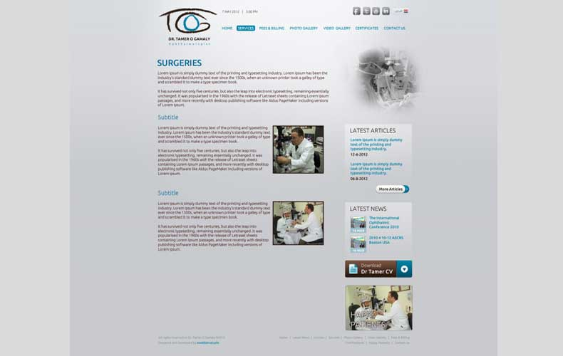 Dr Tamer Gamaly Clinic Website design and development