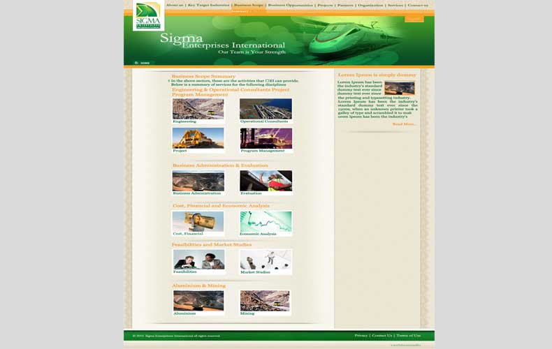 Sigma Enterprise International website design and development