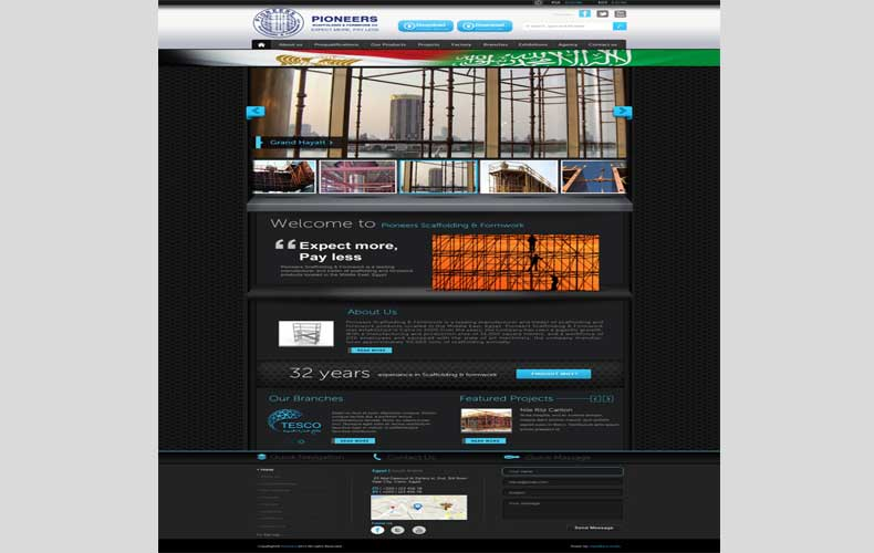 Pioneerspsf Scaffolding and Formwork website design and development